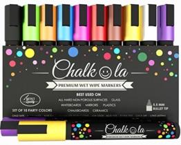 Kreidemarker - 10er Pack neonfarbene Markerstifte. Für Whiteboard, Kreidetafel, Fenster, Tafel, Bistros - 6mm Kugelspitze mit 8 Gramm Tinte - 1