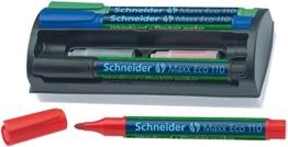 Schneider Maxx Eco110 Whiteboard-Kit Marker (Halterung mit Lösch-Schwamm) Set mit je 4 Marker und Ersatzpatronen schwarz/rot/blau/grün - 1