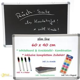 """SLIM"" Whiteboard & Blackboard (Kreidetafel) • KOMPETTSET • inklusive Zubehör (60 cm x 40 cm) - 1"