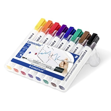 Staedtler 351 WP8 Lumocolor Whiteboardmarker Rundspitze, 2 mm, aufstellbare Box mit 8 farben - 1