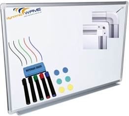 Whiteboard Magnettafel mit Alurahmen und durchgehender Stiftablage, in 6 Größen, schutzlackiert magnethaftend, mit Montagematerial und gratis Zubehör (Stifte,Schwämme,Magnete), Größe:120x90 cm - 1
