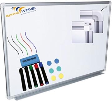 Whiteboard Magnettafel mit Alurahmen und durchgehender Stiftablage, in 6 Größen, schutzlackiert magnethaftend, mit Montagematerial und gratis Zubehör (Stifte,Schwämme,Magnete), Größe:90x60 cm - 1