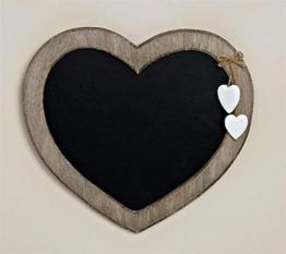 Landhaus Memotafel in Herzform zur Kreide Beschriftung, 30cm x 27cm Küchentafel Kreidetafel Herz -