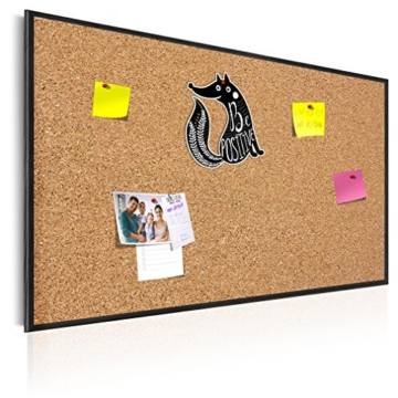 90x60 cm XL Format! KORK-PINNWAND Bilder mit Echt-Holz-Rahmen! 90x60 cm - KORK Tafel im Holzrahmen! Aufhängfertig! Wandbilder, wasser- und wischfest!t Schwarz – CF1A0003a1M - 1