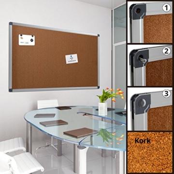 Profi Pinnwand für Büro, Schule, Küche etc. | Memoboard in vielen Größen | moderner Aluminiumrahmen | Oberfläche wählbar | Kork 90x60 cm - 3