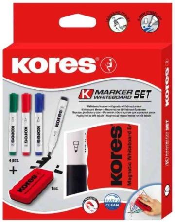 Kores WhiteboardMarker Set, 4 Marker + Tafellöscher M20863 - 2