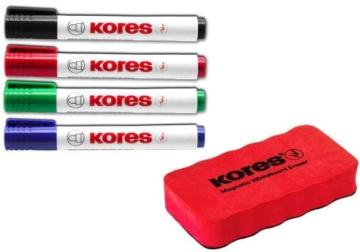 Kores WhiteboardMarker Set, 4 Marker + Tafellöscher M20863 - 1