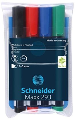 Schneider 293 Board-/Flipchartmarker (nachfüllbar, 2 - 5 mm) 4er Etui schwarz/rot/blau/grün - 1