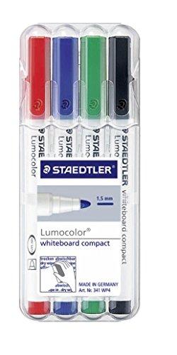 Staedtler 341 WP4 Compact Whiteboard-Marker trocken abwischbar 4 Stück farblich sortiert - 1