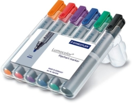 Staedtler 356 WP6 Flipchart-Marker Lumocolor , nachfüllbar, 2 mm, Staedtler Box mit 6 Farben - 1