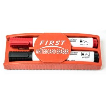 Whiteboard Zubehör Set : 5 Marker / Boardmarker Stifte bunt (4 Farben) + 1 Schwamm Löscher magnetisch für Schreibtafel Magnettafel | Grundausstattung - 2