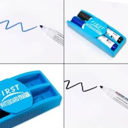Whiteboard Zubehör Set : 5 Marker / Boardmarker Stifte bunt (4 Farben) + 1 Schwamm Löscher magnetisch für Schreibtafel Magnettafel | Grundausstattung - 1