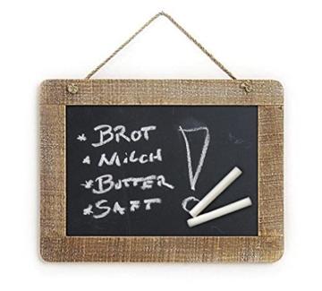 einfache Landhaus Memotafel zur Beschriftung mit Kreide im Holz Rahmen, ca. A4 Format 29 x 21cm Küchentafel Kreidetafel Tafel für Notizen -