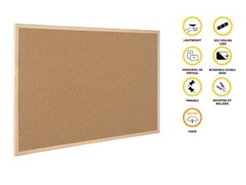 Bi-Office Korktafel / Pinnwand mit Holzrahmen- 5 Größen wählbar - 60 x 40 cm - 2
