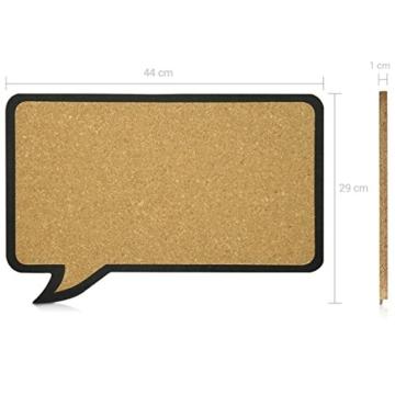 Navaris Kork Pinwand Memoboard Tafel - 44 x 29 cm Pin Board Korkwand - Pinnwand im Sprechblase Design - Korktafel Memo Wand inkl. 5 Pins - 6